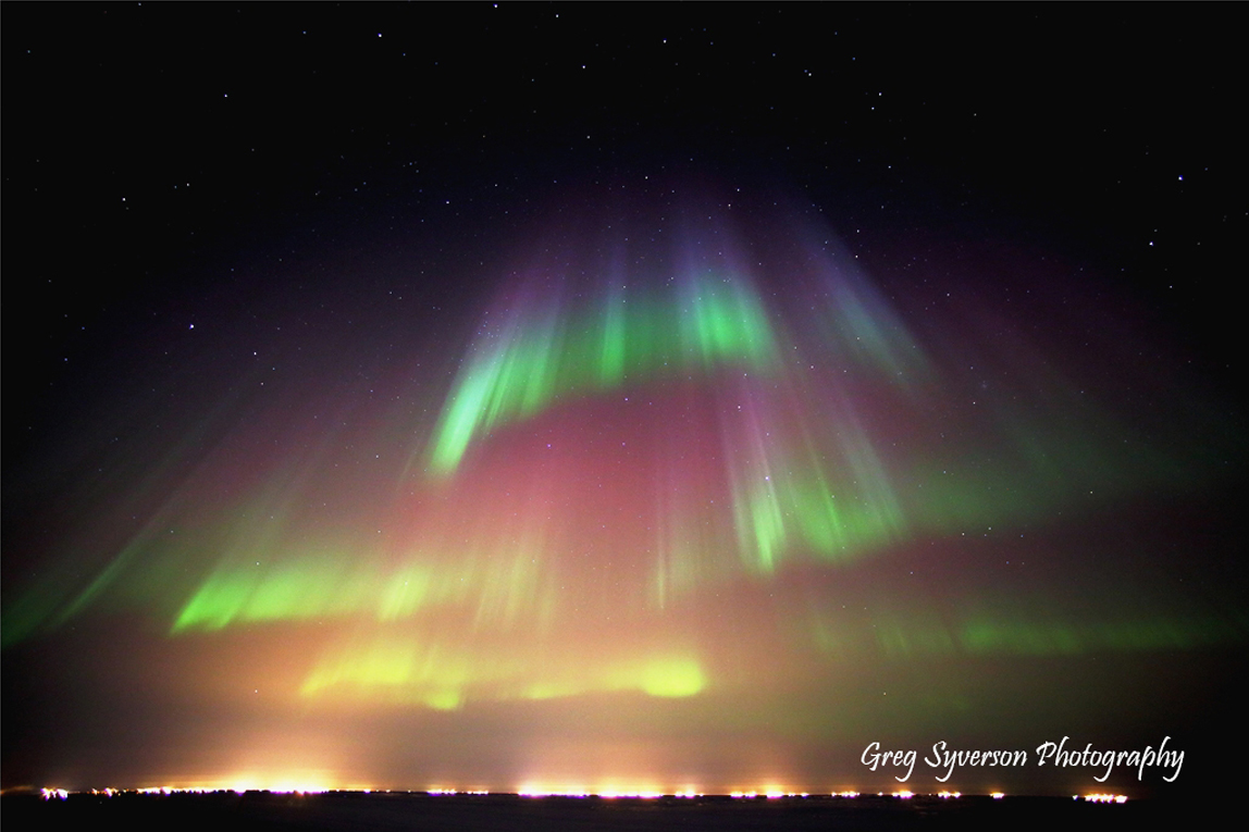 Aurora über Prudhoe Bay, Alaska. Bild mit freundlicher Genehmigung von Greg Syverso