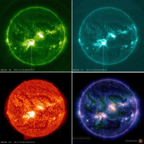 M9.3 Sonneneruption aufgenommen von der Raumsonde SDO in verschiedenen Filter,