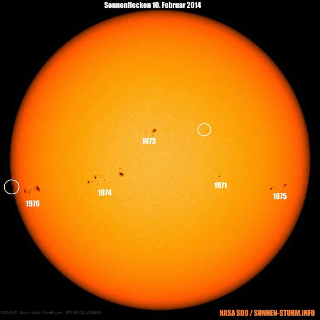"""Die Sonnenflecken 1974, 1975 und 1976 haben ein """"Beta-Gamma"""" Magnetfeld, dass Energie für M-Klasse Flares beherbergt."""