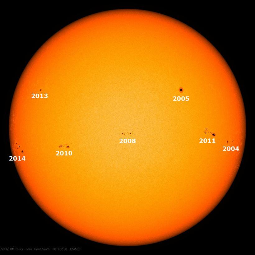 Sonnenfleckenregionen am 21. März