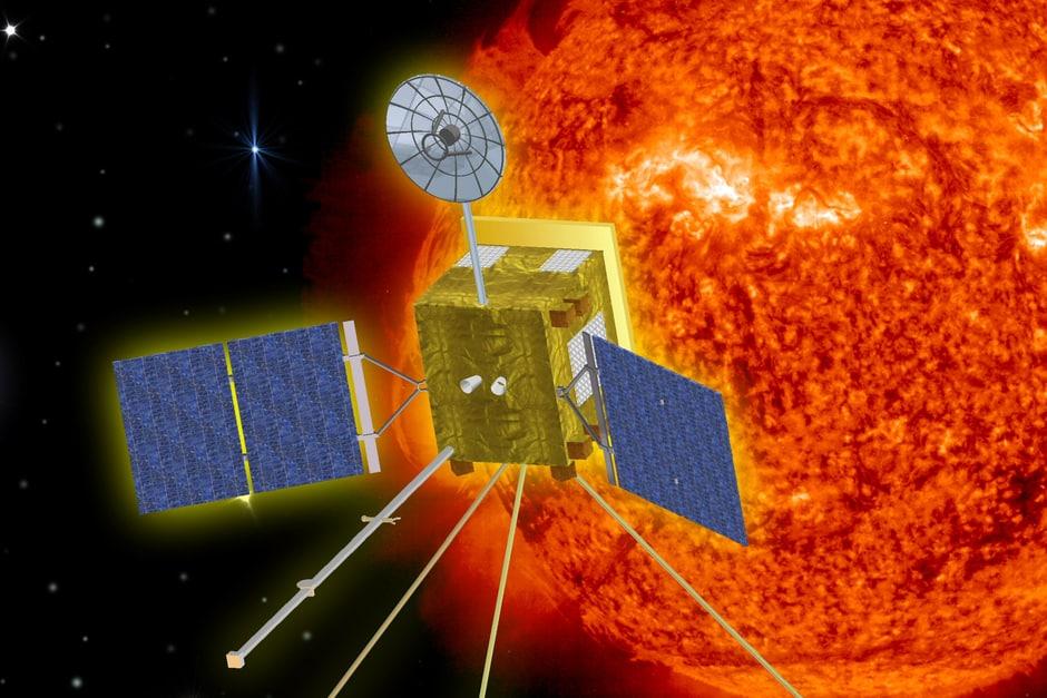 Künstlerische Darstellung der 'Solar Orbiter' Raumsonde bei der Annäherung an die Sonne.