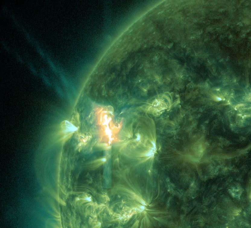 Als Flare oder chromosphärische Eruption bezeichnet man einfache Plasma-Magnetfeldbögen. Kommt es zu einer Reorganisation der Bögen, die zu einer Ablösung von Plasmaschläuchen führt, beobachtet man einen erhöhten Masseausstoß. Bezeichnungen dafür sind Koronaler Massenauswurf (CME) oder auch Eruptive Protuberanz, die damit verbundenen Teilchenstürme Sonnensturm, Protonenschauer, Solarkosmischer Strahlungsausbruch (
