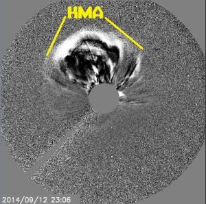 Bild: Teilchenwolke ( Koronaler Massenauswurf )