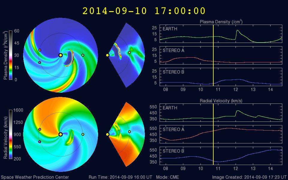 Das ENLIL-Sonnenwind Vorhersagemodell wurde soeben aktualisiert und zeigt die Flugbahn des Massenauswurfs: https://www.swpc.noaa.gov/wsa-enlil/