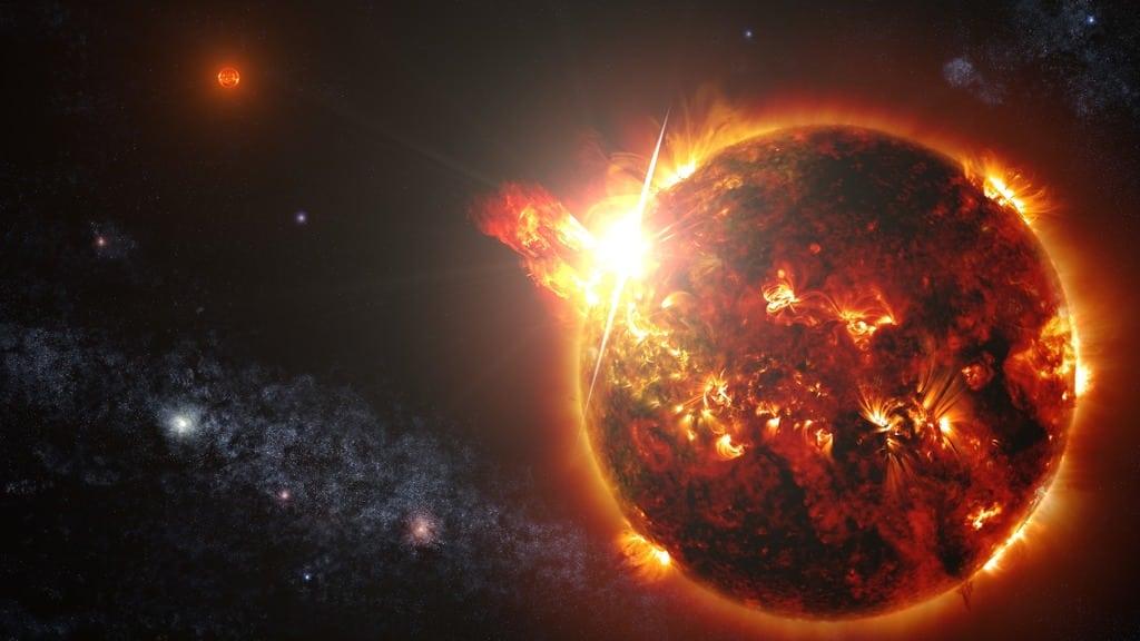 Künstlerische Darstellung: Massivenr Megaflare auf einem roten Zwergstern im Binärsystem DG CVn, etwa 60 Lichtjahre entfernt fest. Bild NASA Goddard Space Flight Center / S. Wiessinger