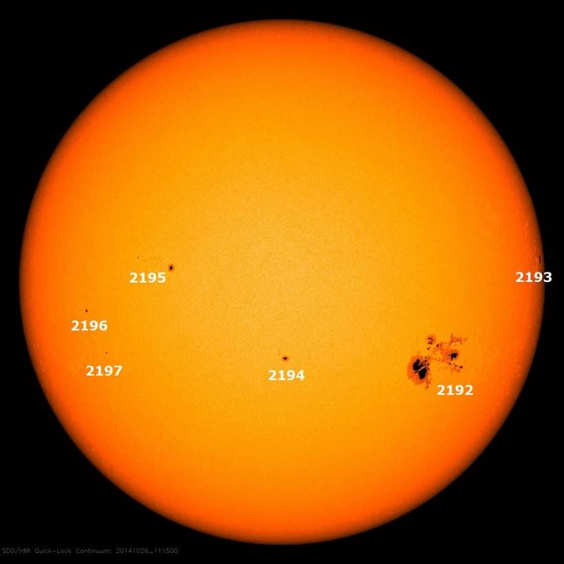 Sichtbare Sonnenflecken am 26 Oktober 2014