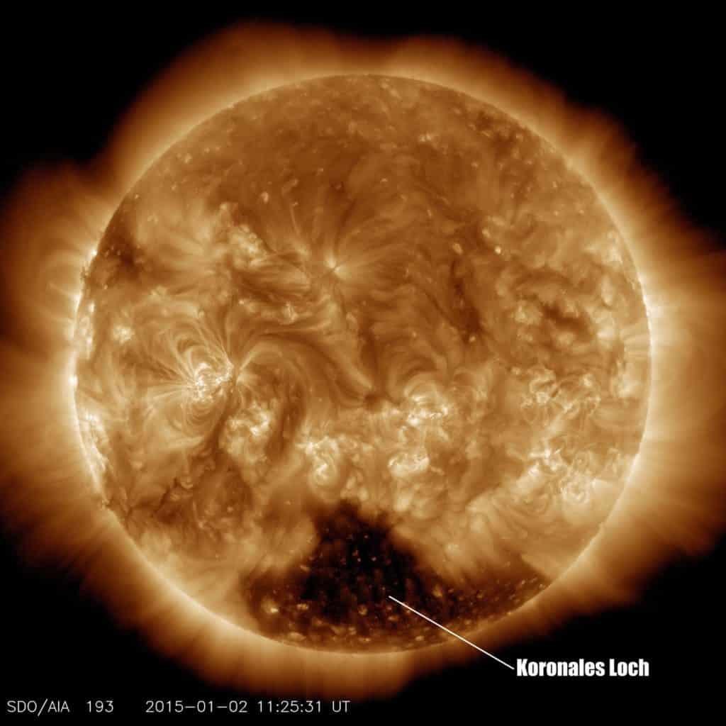 Koronales Loch in der südlichen Sonnenkorona