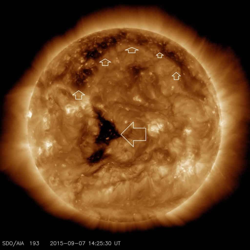 Koronale Löcher auf der Sonne