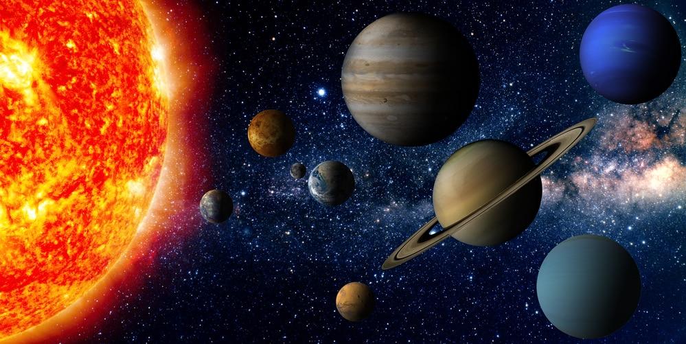 Abbildung Sonne mit den 9 Planeten