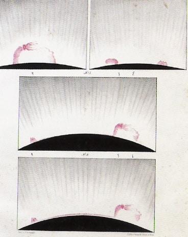 Protuberanzen, gezeichnet während der totalen Sonnenfinsternis am 28. Juli 1851 in Rastenburg/Ostpreußen.