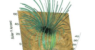 Die magnetische Struktur rund um einen Sonnenfleck während der Beobachtungen. Bild: IWF/ÖAW