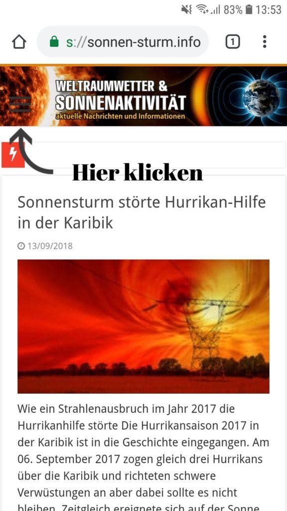 Kostenlose Weltraumwetter App von Sonnen-Sturm.info 1