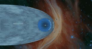 Das Bild ist eine künstlerische Darstellung und zeigt die Positionen der beiden NASA-Sonden Voyager 1 und Voyager 2 außerhalb der Heliosphäre. Quelle: NASA/JPL-Caltech