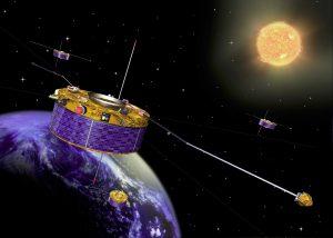 Künstlerische Darstellung des Cluster-Satelliten