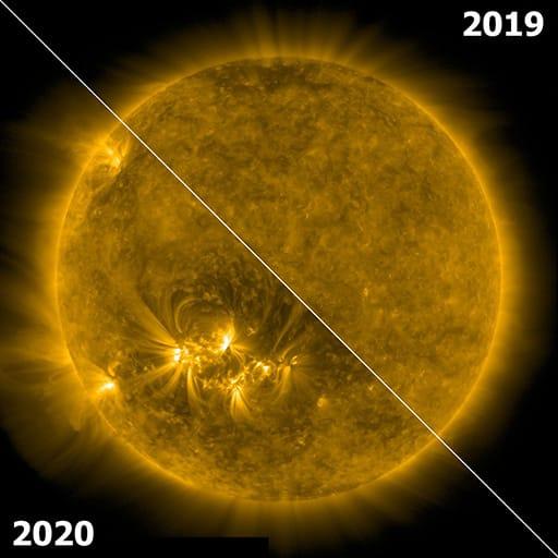 Die Sonne 2019 und 2020, eine Welt voller Unterschiede. SDO AIA / 171 Å.